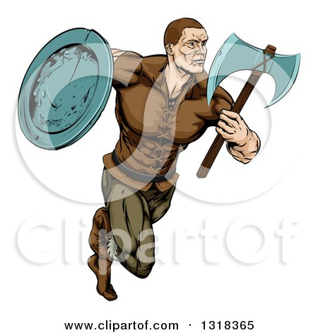 Clipart of a Muscular Viking Warrior Sprinting with an Axe and Shield - Royalty Free Vector Illustration by AtStockIllustration
