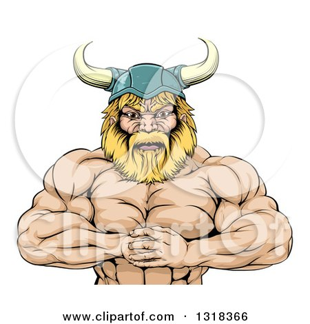 Clipart of a Cartoon Muscular Blond Male Viking Warrior Punching One Fist into a Palm - Royalty Free Vector Illustration by AtStockIllustration