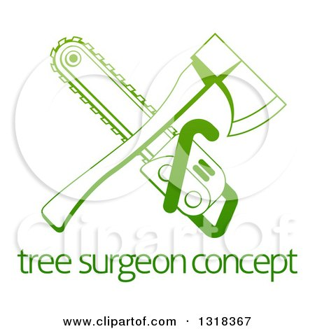 Clipart of a Gradient Green Crossed Tree Surgeon Chainsaw and Axe over Text - Royalty Free Vector Illustration by AtStockIllustration