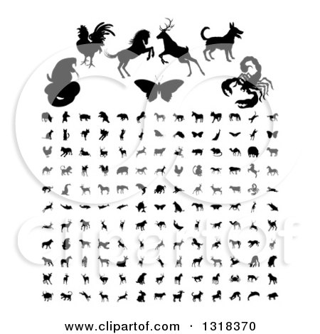 Clipart of Black Silhouetted Animals and Insects - Royalty Free Vector Illustration by AtStockIllustration