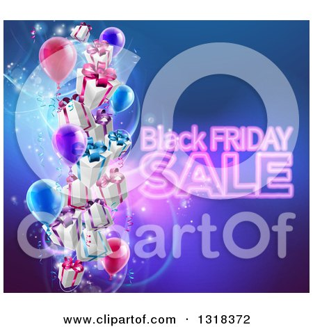Clipart of Neon Black Friday Sale Text with 3d Party Balloons and Floating Gifts on Blue - Royalty Free Vector Illustration by AtStockIllustration