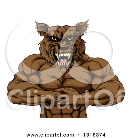 Clipart of a Tough Vicious Muscular Brown Wolf Man Punching His Fist into Palm - Royalty Free Vector Illustration by AtStockIllustration