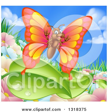 Clipart of a Cartoon Happy Butterfly over Summer Flowers, Leaves and Sky - Royalty Free Vector Illustration by AtStockIllustration