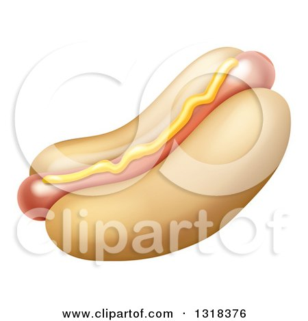 Clipart of a Cartoon Hot Dog with a Strip of Mustard - Royalty Free Vector Illustration by AtStockIllustration