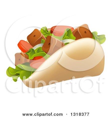 Clipart of a Cartoon Souvlaki Kebab Sandwich - Royalty Free Vector Illustration by AtStockIllustration