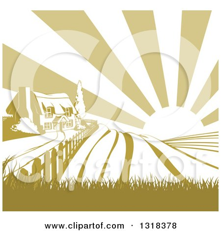 Clipart of a Cottage Farmhouse Atop a Hill with Fields at Sunrise - Royalty Free Vector Illustration by AtStockIllustration