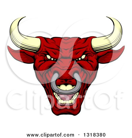 Clipart of a Roaring Mad Red Bull Mascot Head - Royalty Free Vector Illustration by AtStockIllustration