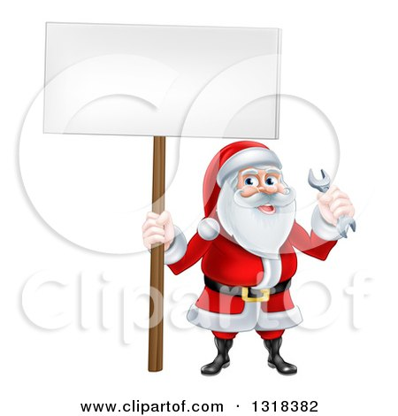 Clipart of a Happy Christmas Santa Holding a Spanner Wrench and Blank Sign - Royalty Free Vector Illustration by AtStockIllustration
