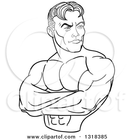 Lineart Clipart of a Cartoon Black and White White Male Bodybuilder with Folded Arms, Looking to the Side - Royalty Free Outline Vector Illustration by LaffToon