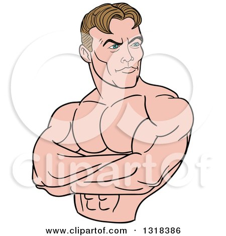 Clipart of a Cartoon White Male Bodybuilder with Folded Arms, Looking to the Side - Royalty Free Vector Illustration by LaffToon