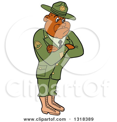 Clipart Of A Cartoon Black Male Army Sergeant With Folded Arms Looking Stern Royalty Free Vector Illustration