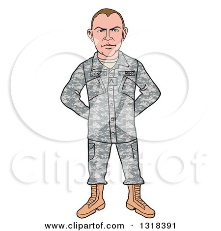 Clipart of a Cartoon Caucasian Male Private Army Soldier - Royalty Free Vector Illustration by LaffToon