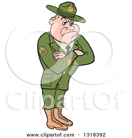 Clipart of a Cartoon White Male Army Sergeant with Folded Arms, Looking Stern - Royalty Free Vector Illustration by LaffToon