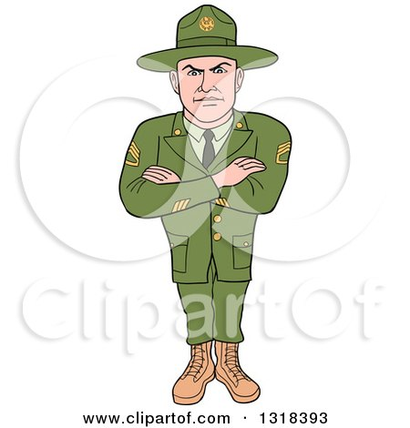 Clipart of a Cartoon Caucasian Male Army Sergeant with Folded Arms, Looking Stern - Royalty Free Vector Illustration by LaffToon