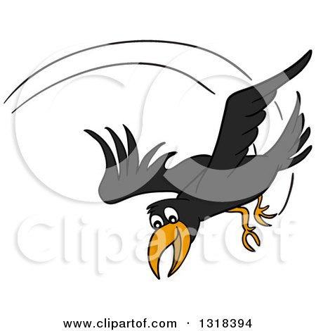 Clipart of a Cartoon Black Crow Swooping down - Royalty Free Vector Illustration by LaffToon
