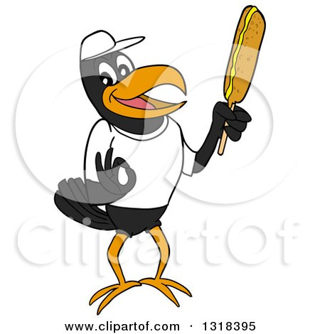 Clipart of a Cartoon Casual Black Crow Mascot Holding a Corn Dog - Royalty Free Vector Illustration by LaffToon