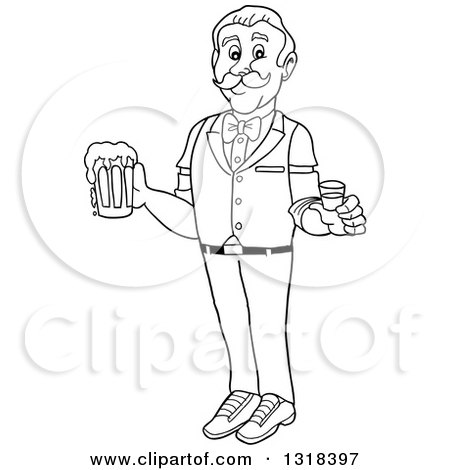Lineart Clipart of a Cartoon Black and White Male Bartender Holding a Shot Glass and Beer Mug - Royalty Free Outline Vector Illustration by LaffToon