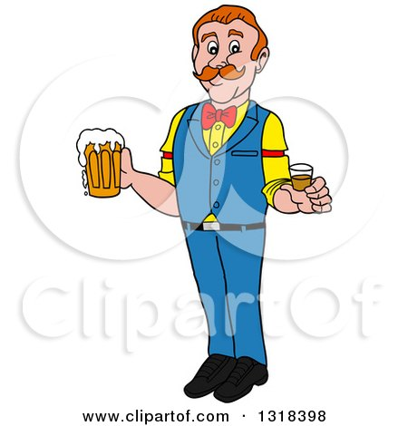 Clipart of a Cartoon White Male Bartender Holding a Shot Glass and Beer Mug - Royalty Free Vector Illustration by LaffToon
