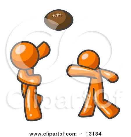 Orange Men Playing Football Clipart Illustration by Leo Blanchette