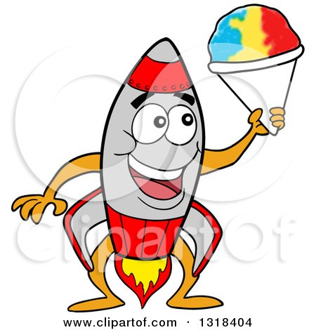Clipart of a Cartoon Rocket Character Holding a Shaved Ice Cone - Royalty Free Vector Illustration by LaffToon