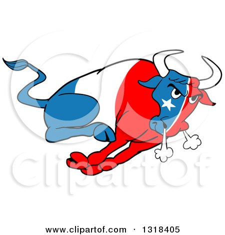 Clipart of a Cartoon Charging Angy Texan Flag Bull - Royalty Free Vector Illustration by LaffToon