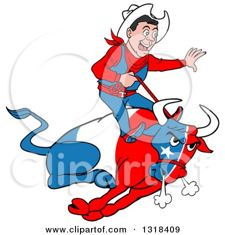 Clipart of a Cartoon Rodeo Cowboy Riding a Charging Angy Texan Flag Bull - Royalty Free Vector Illustration by LaffToon