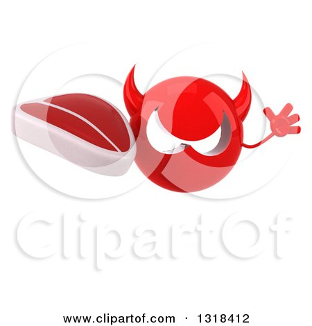 Clipart of a 3d Red Devil Head Jumping and Holding a Beef Steak - Royalty Free Illustration by Julos
