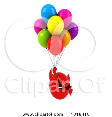 Clipart of a 3d Red Devil Head Facing Right, Floating with Party Balloons - Royalty Free Illustration by Julos