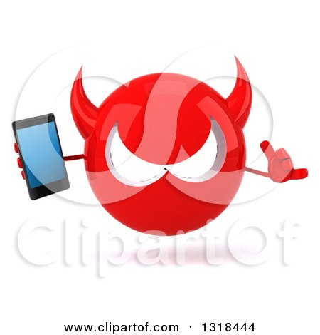 Clipart of a 3d Red Devil Head Holding a Smart Phone and Gesturing Call Me - Royalty Free Illustration by Julos