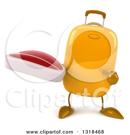 Clipart of a 3d Yellow Suitcase Character Holding and Pointing to a Beef Steak - Royalty Free Illustration by Julos