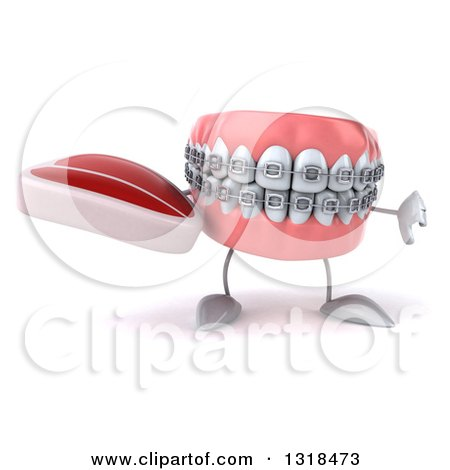 Clipart of a 3d Metal Mouth Teeth Mascot with Braces Holding a Beef Steak and Thumb down - Royalty Free Illustration by Julos