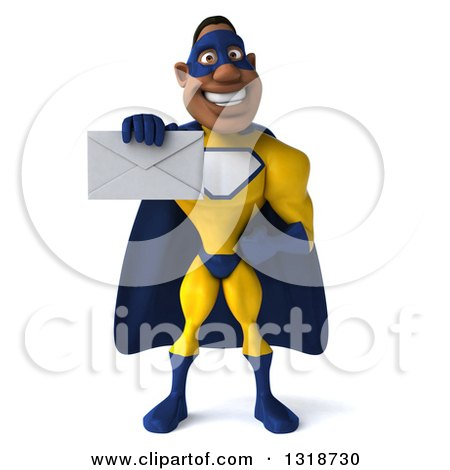 Clipart of a 3d Muscular Black Male Super Hero in a Yellow and Blue Suit, Holding out an Envelope - Royalty Free Illustration by Julos