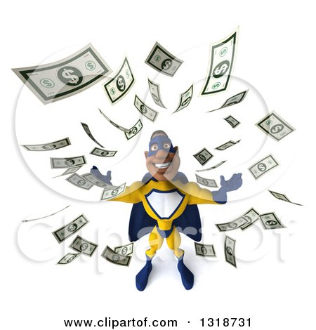 Clipart of a 3d Muscular Black Male Super Hero in a Yellow and Blue Suit, Looking Up, Making It Rain Money - Royalty Free Illustration by Julos