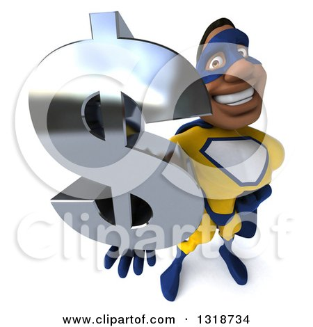 Clipart of a 3d Muscular Black Male Super Hero in a Yellow and Blue Suit, Facing Right, Holding up a Dollar Symbol - Royalty Free Illustration by Julos