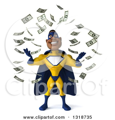 Clipart of a 3d Muscular Black Male Super Hero in a Yellow and Blue Suit, Making It Rain Money - Royalty Free Illustration by Julos