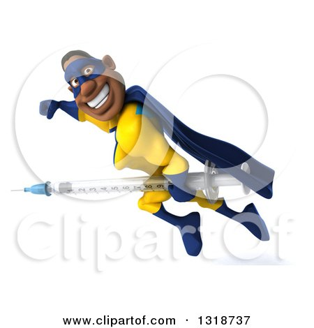 Clipart of a 3d Muscular Black Male Super Hero in a Yellow and Blue Suit, Flying to the Left, Smiling and Holding a Giant Vaccine Syringe - Royalty Free Illustration by Julos
