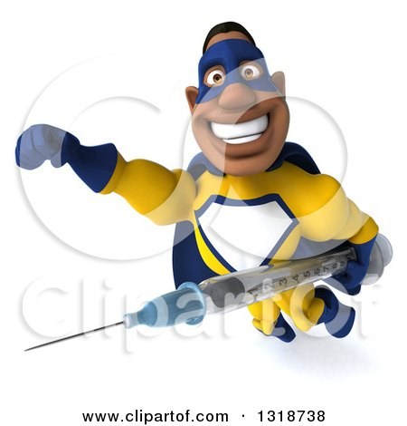 Clipart of a 3d Muscular Black Male Super Hero in a Yellow and Blue Suit, Flying with a Giant Vaccine Syringe - Royalty Free Illustration by Julos