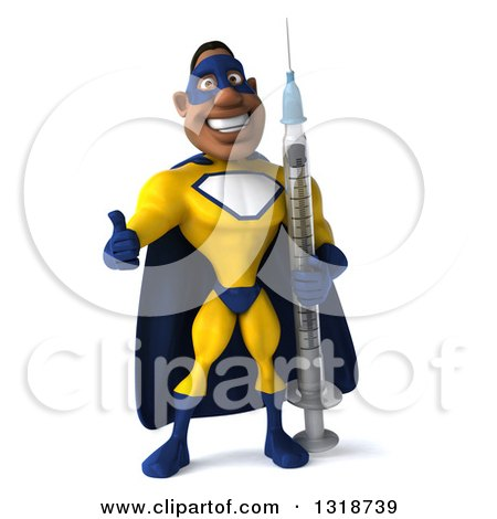 Clipart of a 3d Muscular Black Male Super Hero in a Yellow and Blue Suit, Giving a Thumb up and Holding a Giant Vaccine Syringe - Royalty Free Illustration by Julos