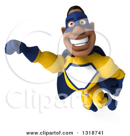 Clipart of a 3d Muscular Black Male Super Hero in a Yellow and Blue Suit, Flying - Royalty Free Illustration by Julos