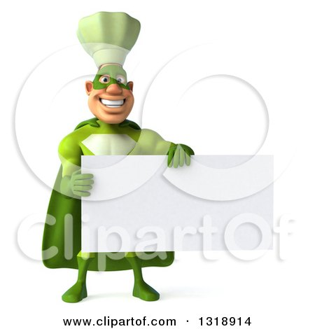 Clipart of a 3d Green Caucasian Male Super Chef Holding a Blank Sign - Royalty Free Illustration by Julos