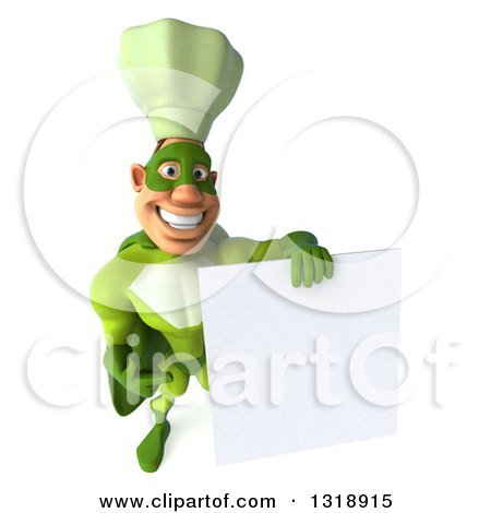 Clipart of a 3d Green Caucasian Male Super Chef Holding up and Pointing to a Blank Sign - Royalty Free Illustration by Julos