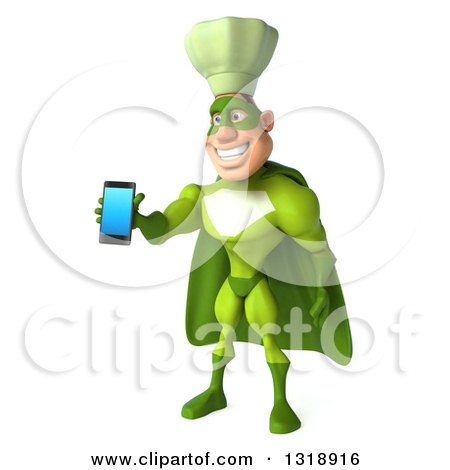 Clipart of a 3d Green Caucasian Male Super Chef Facing Slightly Left and Holding out a Smart Cell Phone - Royalty Free Illustration by Julos
