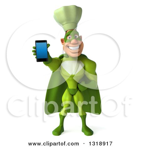 Clipart of a 3d Green Caucasian Male Super Chef Holding out a Smart Cell Phone - Royalty Free Illustration by Julos