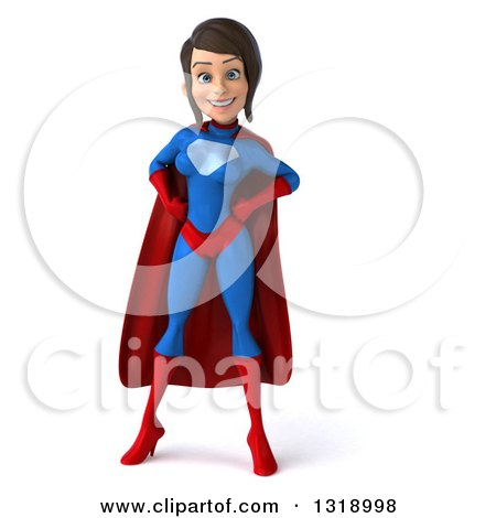 Clipart of a 3d Young Brunette White Female Super Hero in a Blue and Red Suit, Hands on Her Hips - Royalty Free Illustration by Julos