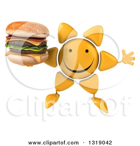 Clipart of a 3d Happy Sun Character Jumping and Holding a Double Cheeseburger - Royalty Free Illustration by Julos