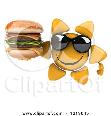 Clipart of a 3d Happy Sun Character Wearing Shades and Holding a Double Cheeseburger - Royalty Free Illustration by Julos