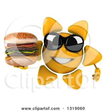 Clipart of a 3d Sun Character Wearing Shades and Holding a Double Cheeseburger - Royalty Free Illustration by Julos