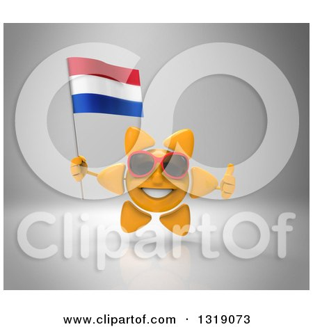 Clipart of a 3d Sun Character Wearing Shades, Holding a Netherlands Flag and Giving a Thumb up on Gray - Royalty Free Illustration by Julos