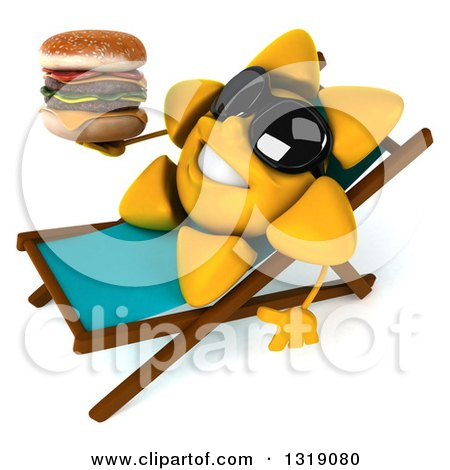 Clipart of a 3d Happy Sun Character Wearing Shades, Sitting on a Chaise Lougne, Holding a Double Cheeseburger - Royalty Free Illustration by Julos
