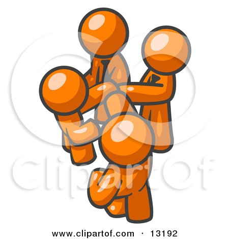 Group of Orange Businessmen Going in Together on a Deal Clipart Illustration by Leo Blanchette